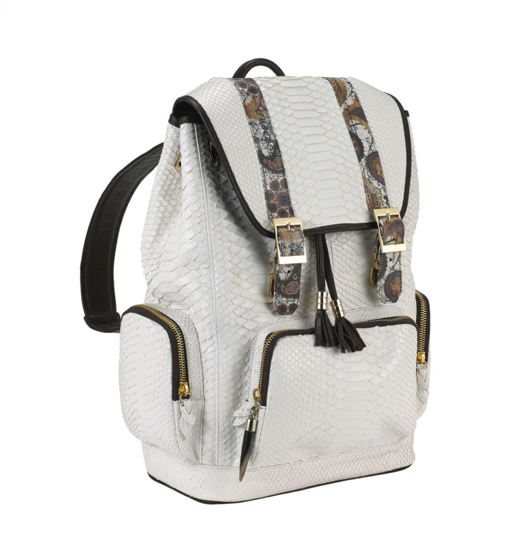 Fingerprint white python backpack 2