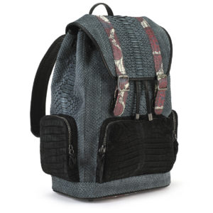 Serenity Gray Python with Black Croco Pockets