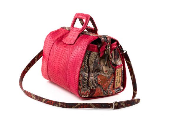 15 inch handbag duffel red python Lady B-2