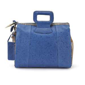Miracles Blue Embossed Paisley Leather