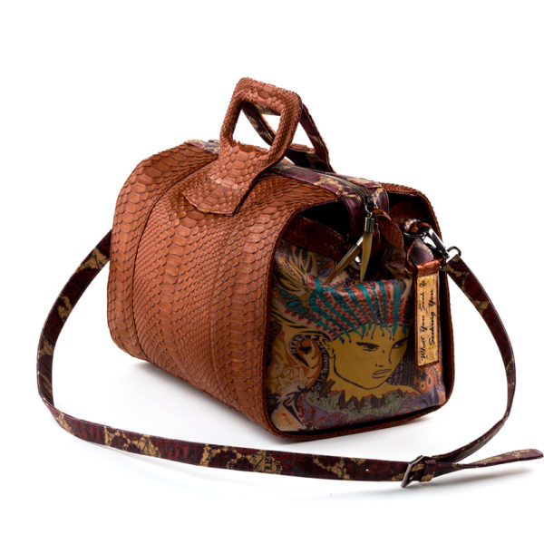 15 inch handbag duffel cognac python Chief of Love 2