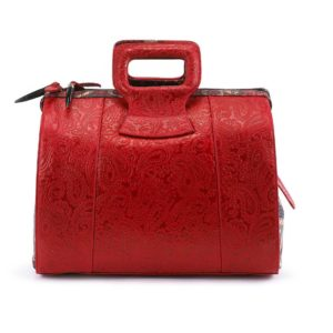Rebirth Red Embossed Paisley Leather