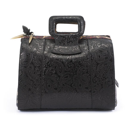 Serenity Black Embossed Paisley Leather