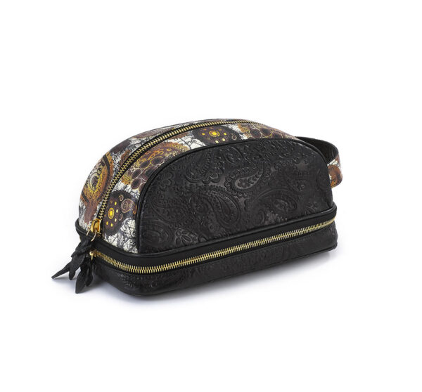 DOPP KIT BLACK EMBOSSED GOLD RUST PAISLEY