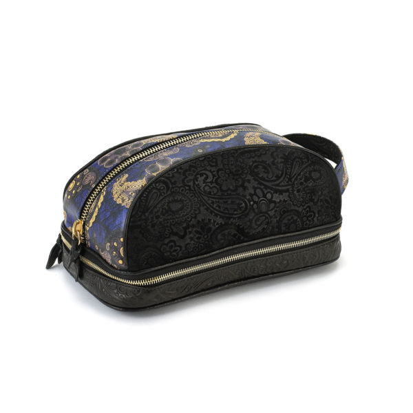Amenity Black Embossed Suede Blue Paisley Dopp Kit