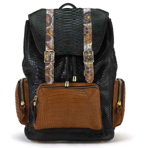 Ganesh Black Python with Tan Crocodile Pockets Backpack