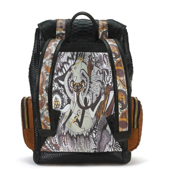 ganesh-black-python-tan-crocodile-pockets-backpack-back