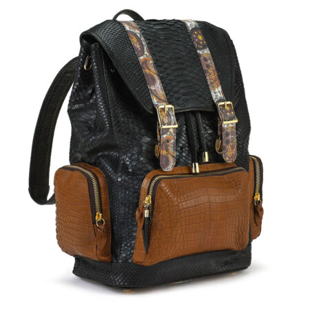 Ganesh Black Python with Tan Croco Pockets