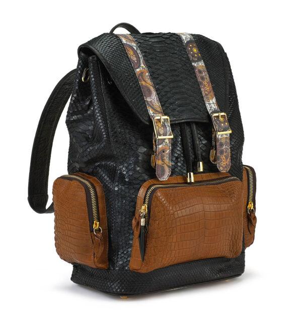 Ganesh Black Python with Tan Crocodile Pockets Backpack
