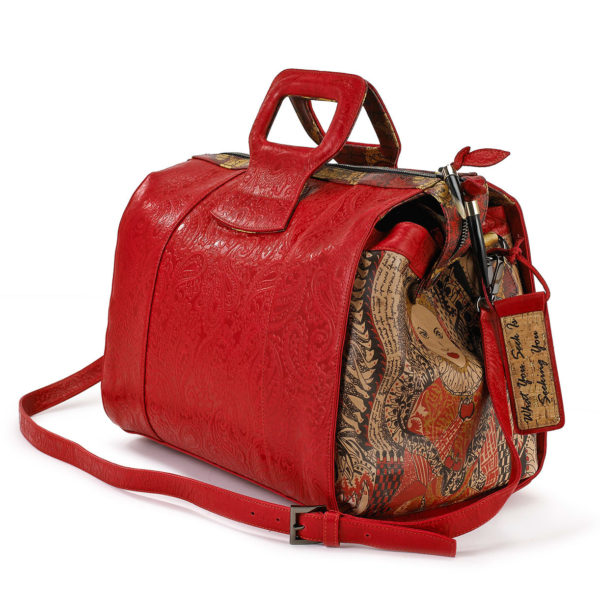 LADY B EMBOSSED DUFFEL BAG RED
