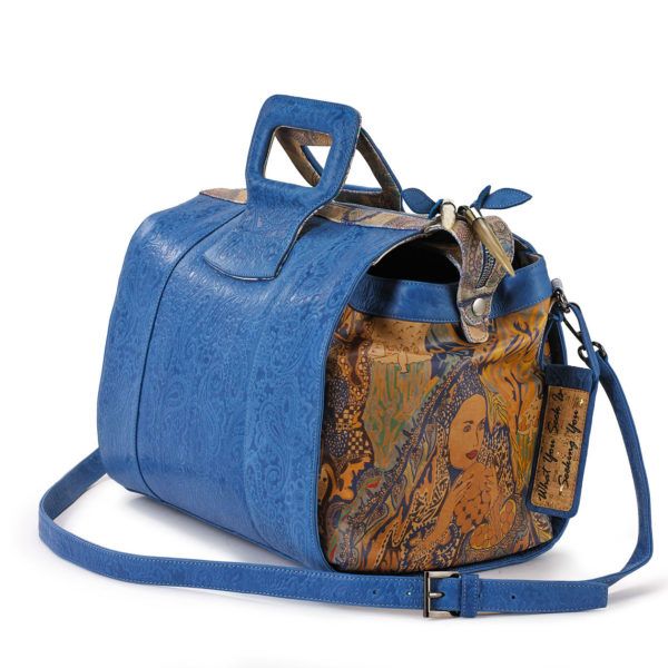 Miracles 15 inches Blue Embossed Paisley Leather Duffel Bag