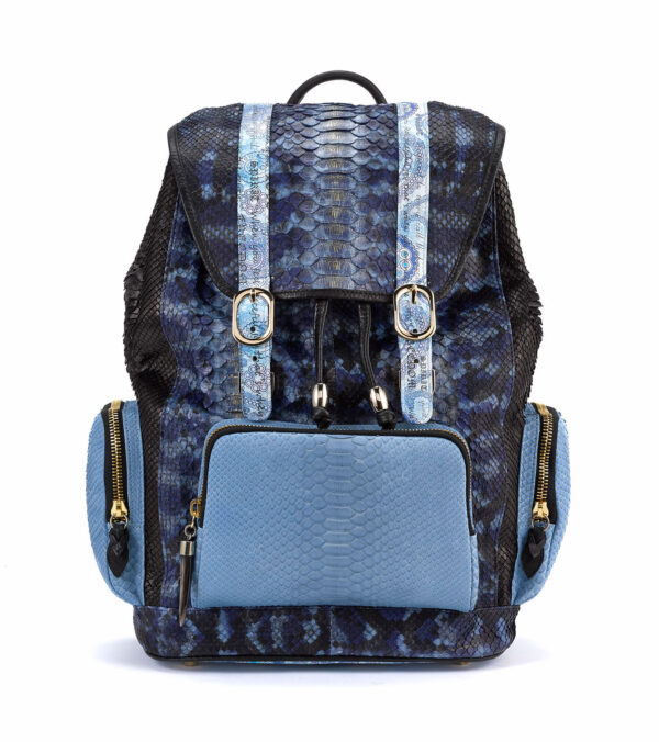 Miracles Multi-Blue Python Backpack