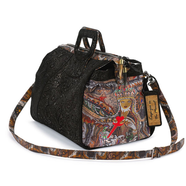 Rebirth 15 inches Embossed Black Paisley Leather Duffel Bag